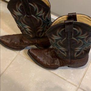 Women's brown ostrich cowboy boots